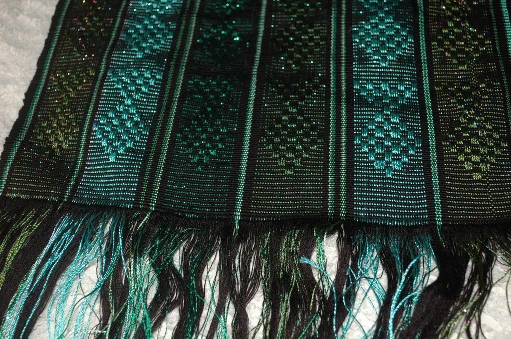 Guatemalan Mayan Table Runner Hand Woven Green/ Blue with Metallic Threads   long fringe