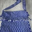 Blue White Guatemalan Cotton Shoulder Bag  from the Sierra de las Minas Biosphere Reserve, Hand Woven  Free Shipping