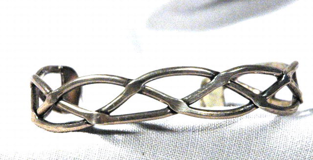 Sterling Silver braided cuff bracelet Designed by  Taxco Mexico Artisan