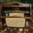 Vintage Walnut  Wood Magazine Rack with Caning
