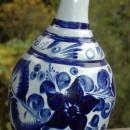 Tonola Talavera Bottle Vase  Hand Painted with  Cobalt Blue