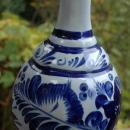 Tonola Talavera Bottle Vase  Hand Painted with  Cobalt Blue