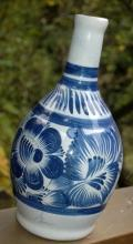 Signed Talavera Bottle Vase  Hand Painted with  Cobalt Blue
