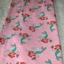 Ariel Little Mermaid Pink Cotton Sweatshirt Fleece Fabric Piece  Remnant  60
