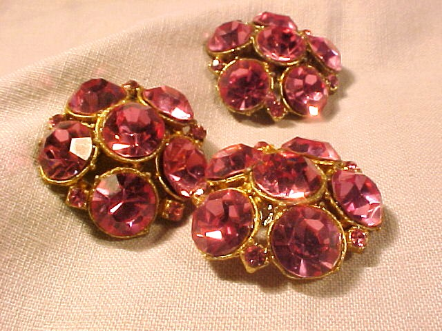 3 Large Fuchsia Pink Faceted Rhinestone Buttons  FREE SHIPPING
