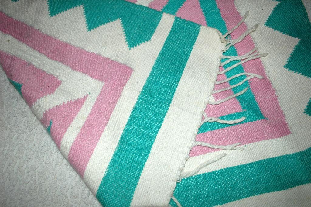Hand Woven Guatemalan Mayan Serpent Area Rug 1980's Pink, White & Teal    Free Shipping