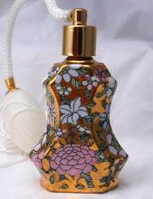 Gold Enameled Porcelain Perfume Bottle Atomizer