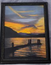 Pacific North West Sundown  Waterscape Oil Painting Signed,