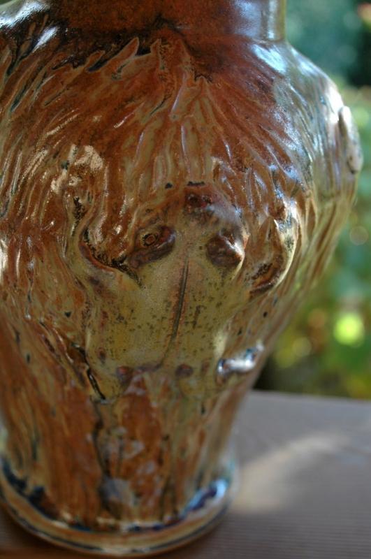 Stoneware Textured Climbing  Frog Vase Signed M. Madsen & Elaine W   / made with Mount Saint Helen's Ash Glaze