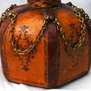 Hand Tooled Leather Wrapped  Hexagonal Glass Decanter , Italian with Moorish Top
