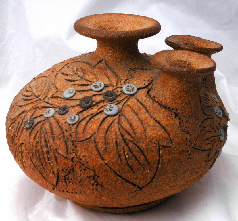 3 Neck Pottery Vase Signed Carma