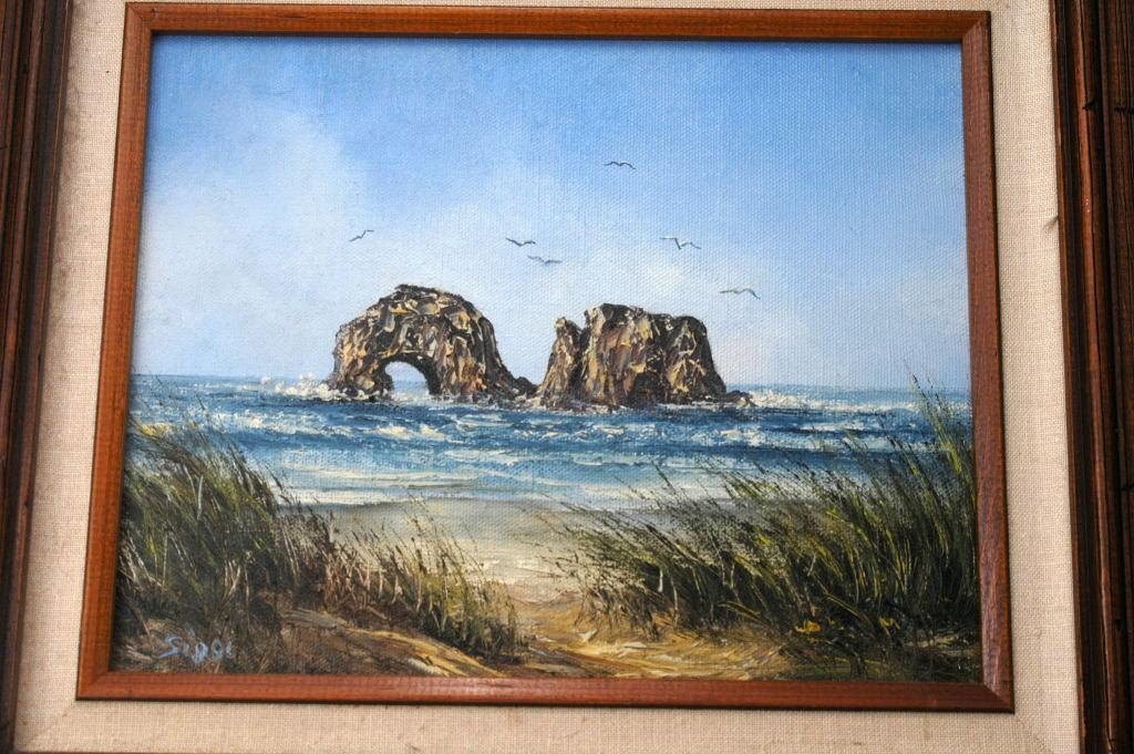 Sea Arches Oil Painting Framed, signed  Siggi