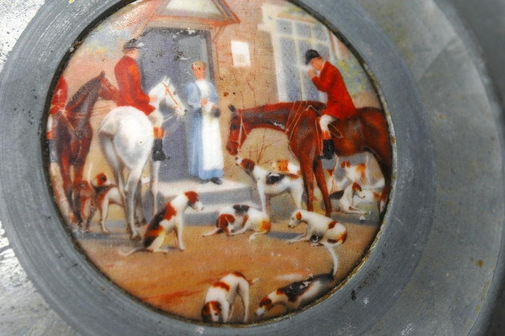 Round Victorian Aluminum Lidded  Dresser Box Porcelian Hunting Scene and Depression Glass Insert