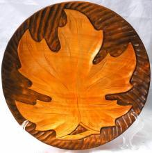 Hand Carved Tramp Art Wood Carving Maple Leaf Plate, Wall Decor