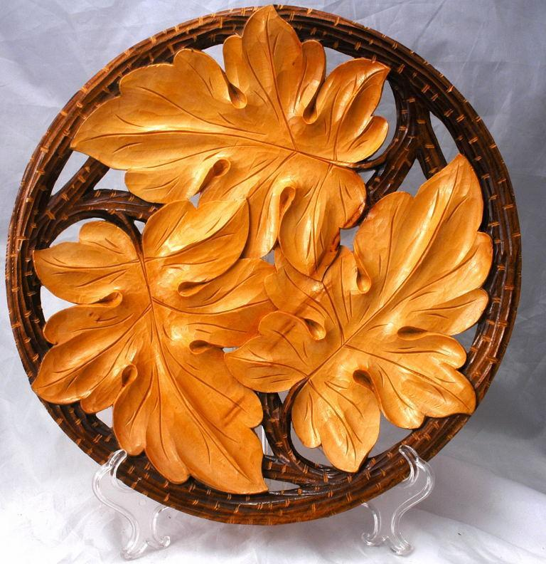 Hand Carved Tramp Art Wood Carving  Oak  Leaf Plate, Wall Decor