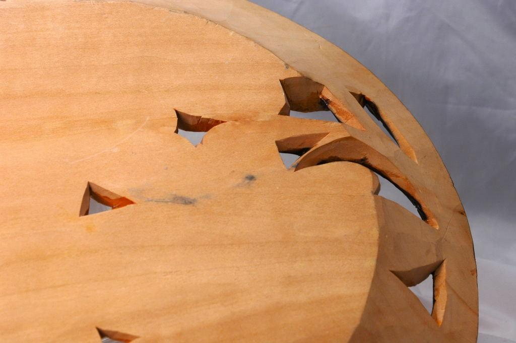 Hand Carved Tramp Art Wood Carving  Oak  Leaf Plate, Wall Decor