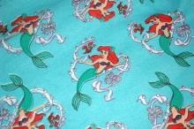 Ariel Little Mermaid Blue Cotton Sweatshirt Fleece Fabric Piece  Remnant  60