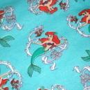 Ariel Little Mermaid Blue Cotton Sweatshirt Fleece Fabric Piece  Remnant  60