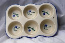 Heavy Ceramic Porcelain  Muffin Pan, Polish, Blueberry motif