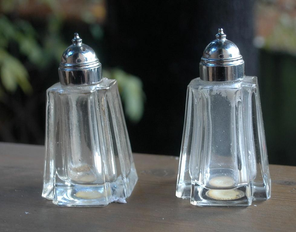 PRINCESS HOUSE Fine Hand Cut Crystal Salt & Pepper Shakers/Rare Shape!  Crisa of Monterray Mexico