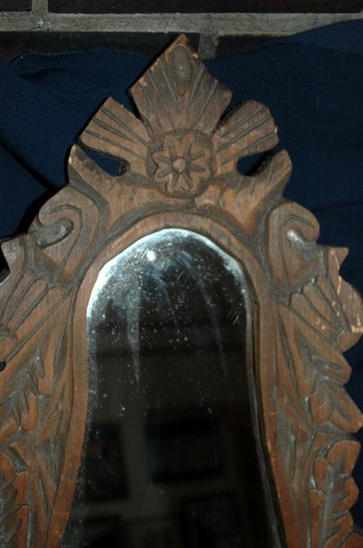 Wood Carved Mexican Folk Art   Mirror  Unique Eggplant Shape