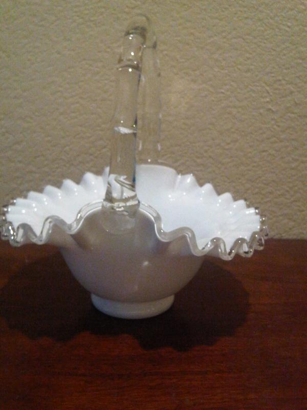 Fenton Glass  SilverCrest Crimped Edge Rope Handle Basket  7.5