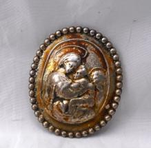 CINI STERLING BROOCH, JESUS, MARY AND ANGEL