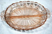 Pink Depression Glass Divided Relish Dish
