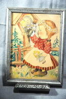 Old Water Color of County Girl with Madonna &