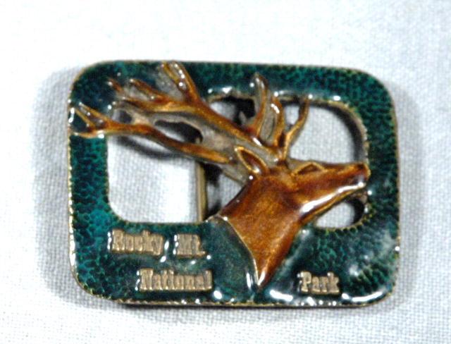 Rocky Mt. Nat. Park  Enameled Elk Belt Buckle