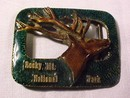 Rocky Mt. Nat. Park  Enameled Elk Belt Buckle
