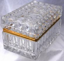 Large  heavily cut crystal  box or casket  with hinged lid and Ormolu Mounts.