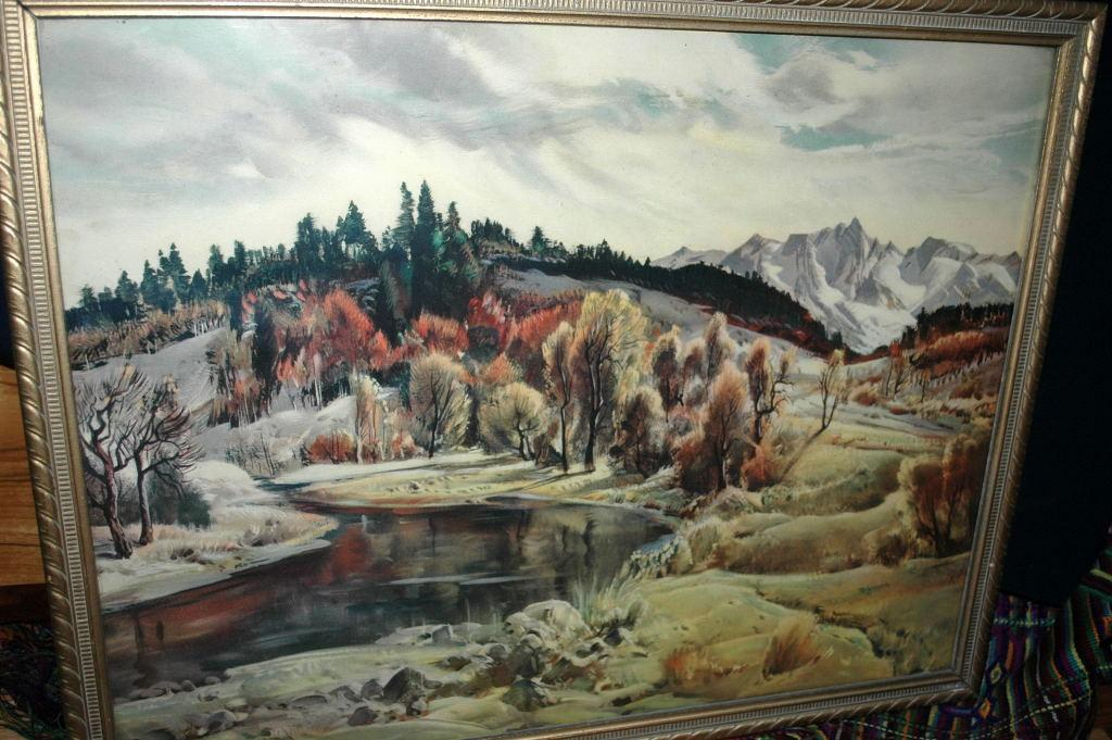 Paul Lauritz Fine Art Landscape Painting in Gilt  Wood Frame