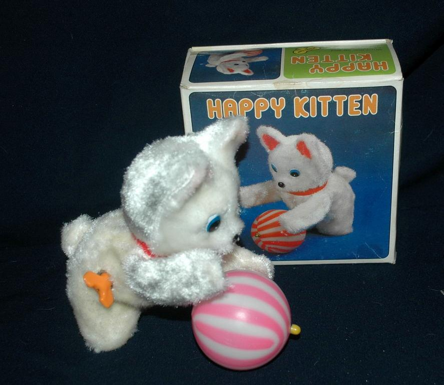 Vintage Wind Up Toy Kitten with Ball  -plush  In Box