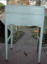 Old Wooden  Sewing Stand Chest, White Milk Paint  Shabby Chic