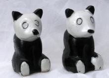 Old Panda Bear Salt Pepper Shakers, Japan , Hand painted  FREE SHIPPING