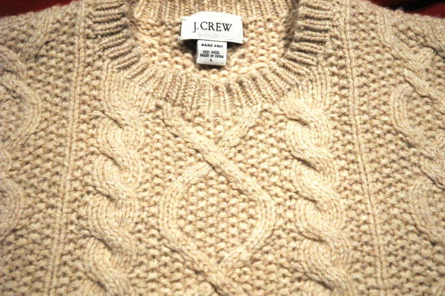 J. Crew Beige Wool Irish Fisherman's Sweater