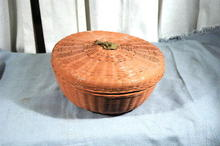 Old Chinese Sewing Basket  Round with brass Chinese Character Finial Top   PRICE REDUCTION!**