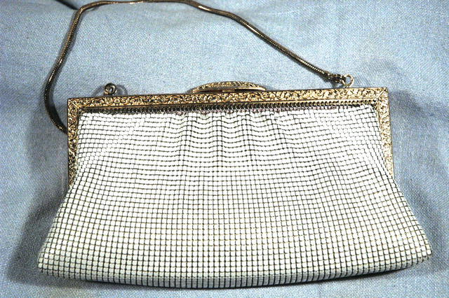Vintage White Mesh Purse  evening bag