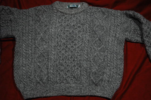 Irish Fisherman's Sweater  Gray/Black Marbled