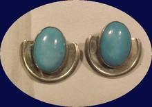 Huge Sterling & Oval Turquoise Cabochon