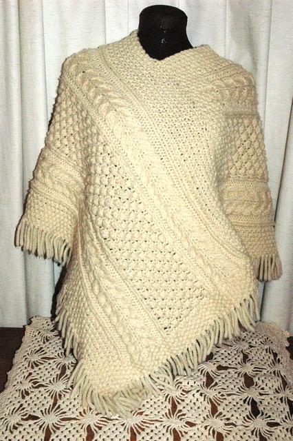 Aran Clan Cable Knit Irish Fisherman Poncho