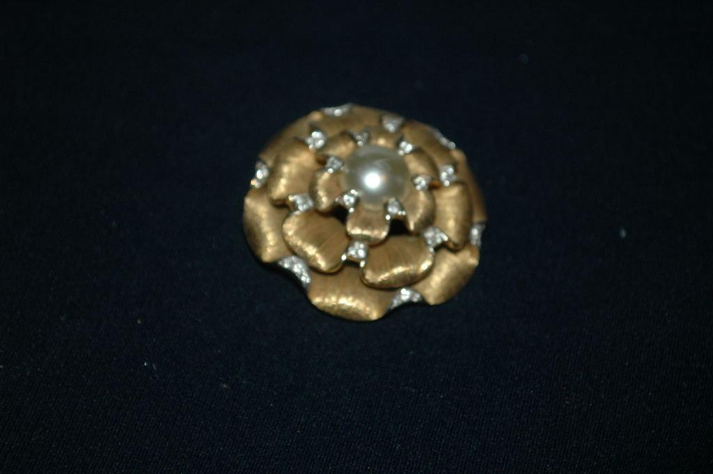 RARE ! Boucher Large Flower Brooch,  Gold Petals, White Rhinestone Mabe Pearl Center