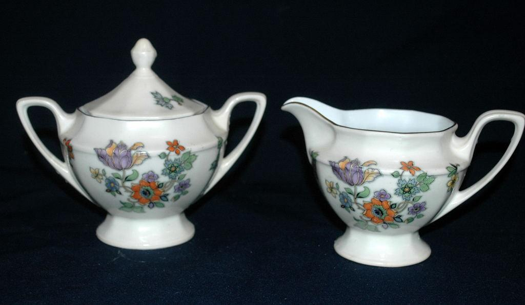 Zeh Scherzer Bavaria Porcelian  Footed Sugar Bowl and Creamer Hand painted flowers