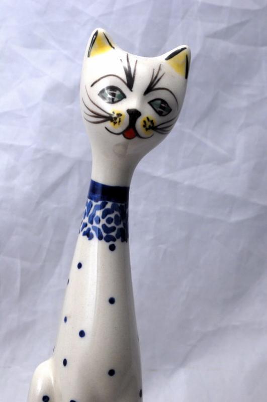 MANUFAKTURA BOLESŁAWIEC, R. ORDA, HAND MADE IN POLAND Tall Porcelain Cat