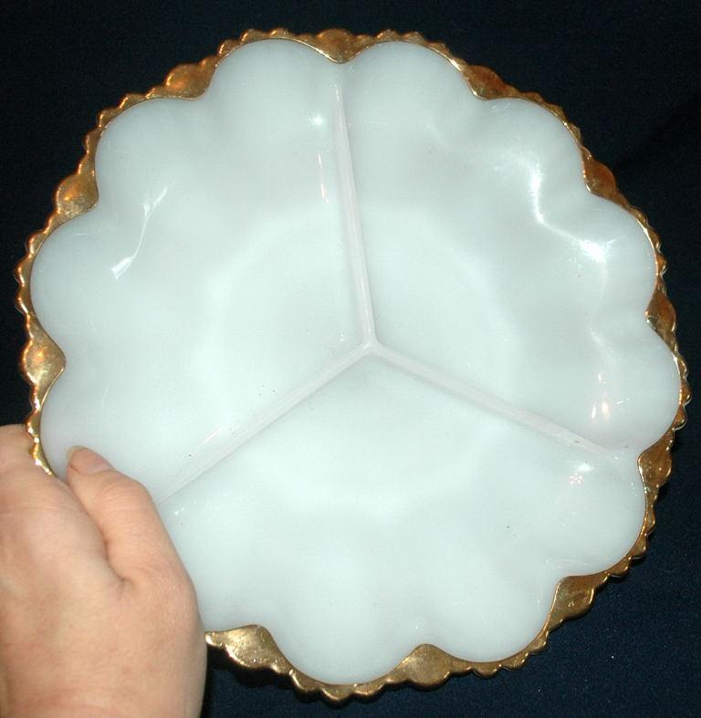 VINTAGE ANCHOR HOCKING Round White Milk Glass w/Gold Trim Divided 3-Section Dish