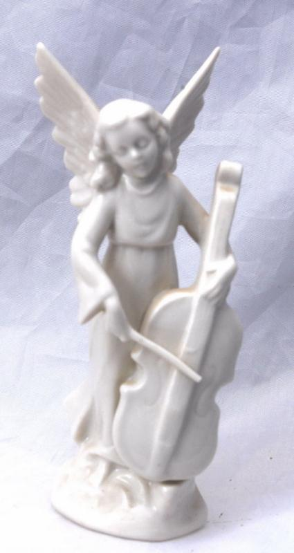 VINTAGE DRESDEN GERMANY PORCELAIN MUSICAL CELLO ANGEL   Free Shipping