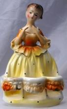 Vintage Chadwick Japan LADY LIPSTICK HOLDER Yellow Dress Figurine CMI Inc  Free Shipping