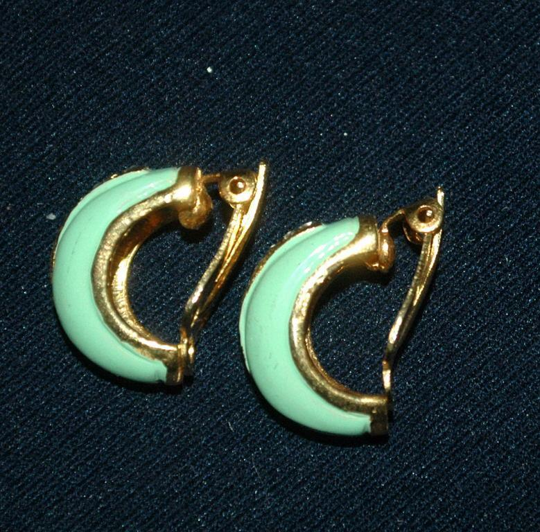 Darling 1/2 circle Green Enamal & Pave Crystal Earrings vintage   Free Shipping