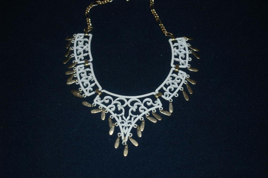 White Enamel Filigree ( Lattice Work) Necklace with Gold Dangles  Vintage Boho Chic   Free Shipping!